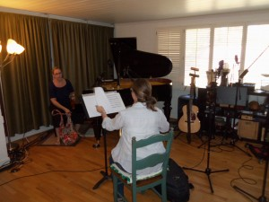Rose and Emily layin' down phat horn tracks...