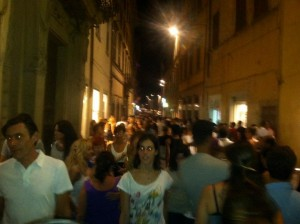 All of Citta di Castello comes out for a passegiatta on a summer night...